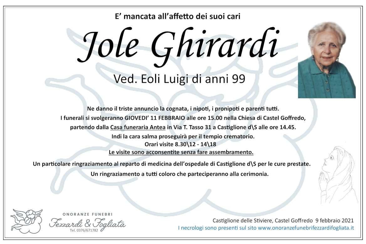 Necrologio Jole Ghirardi