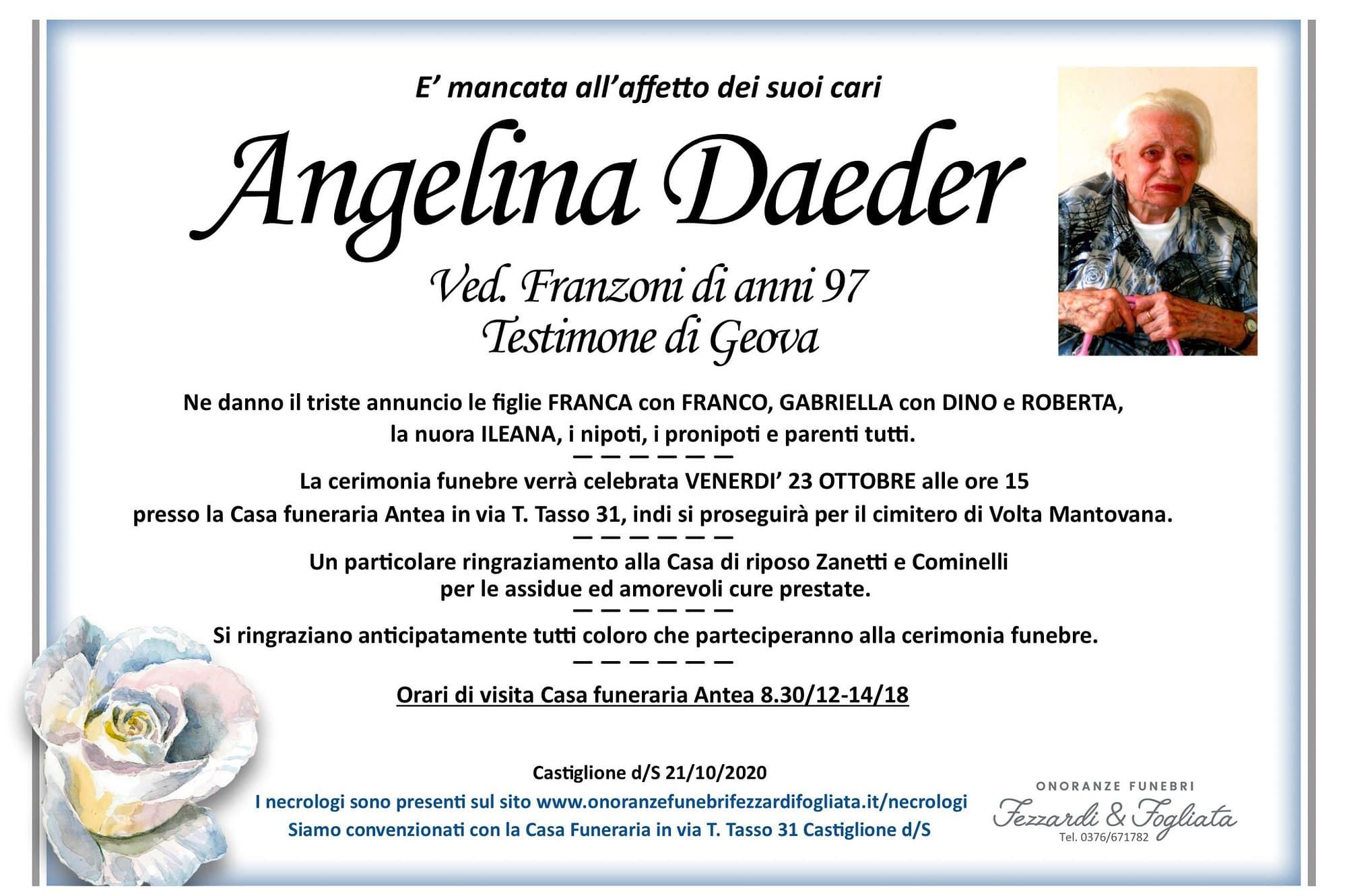 Necrologio Angiolina Daeder