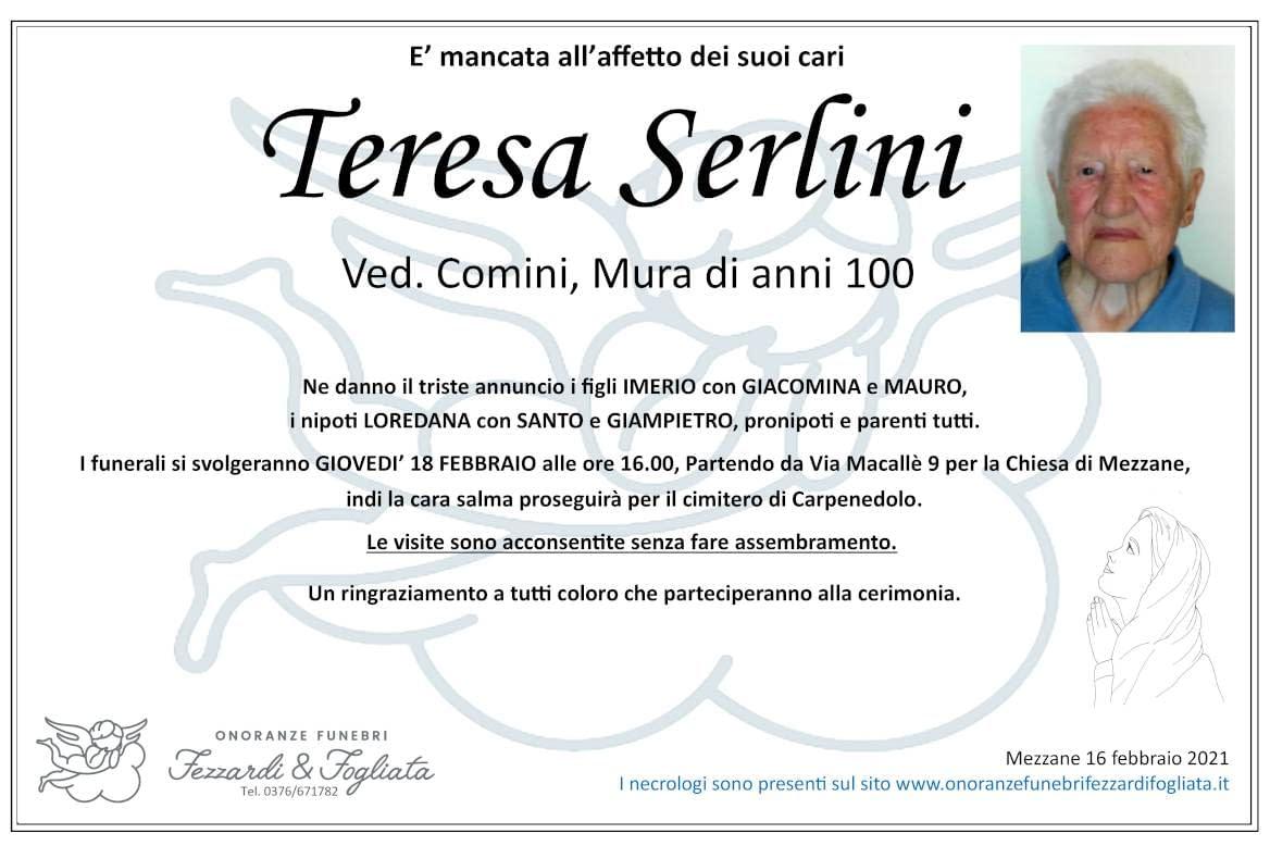 Necrologio Teresa Serlini