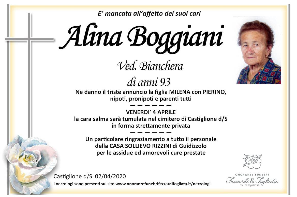 Necrologio Alina Boggiani