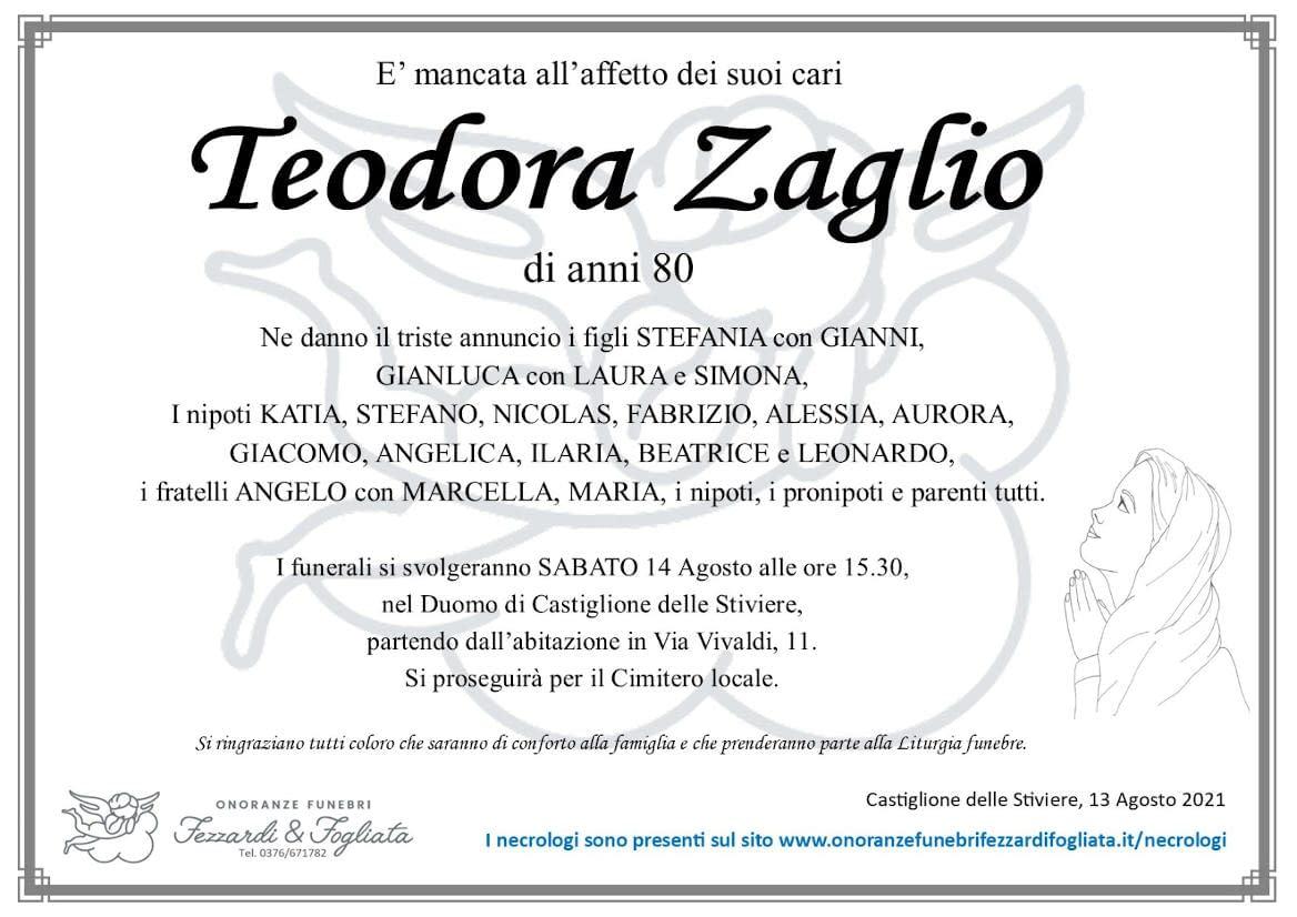 Necrologio Teodora Zaglio