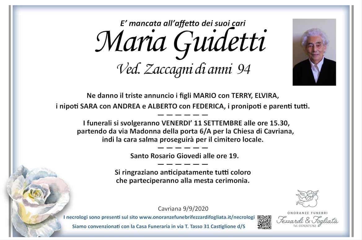 Necrologio Maria Guidetti