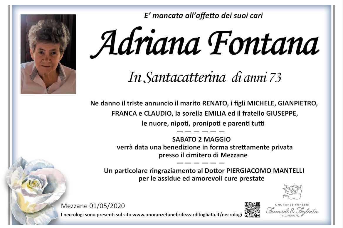 Necrologio Adriana Fontana