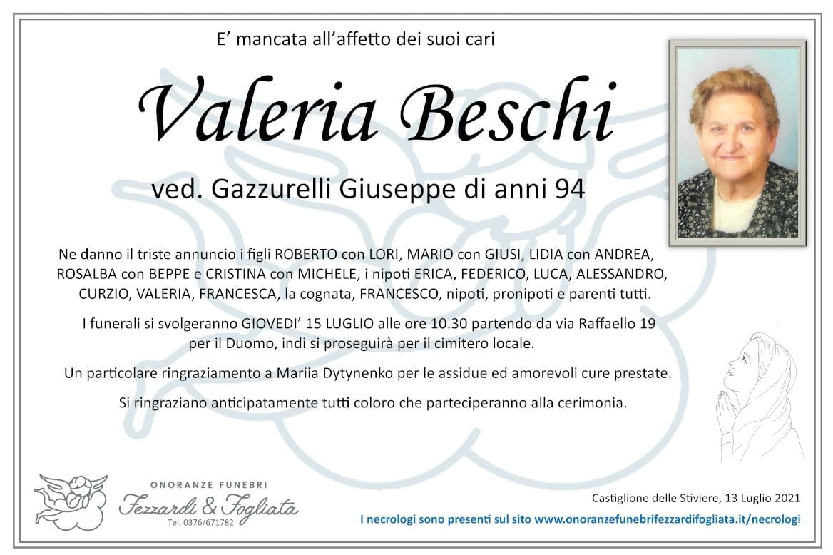Necrologio Valeria Beschi