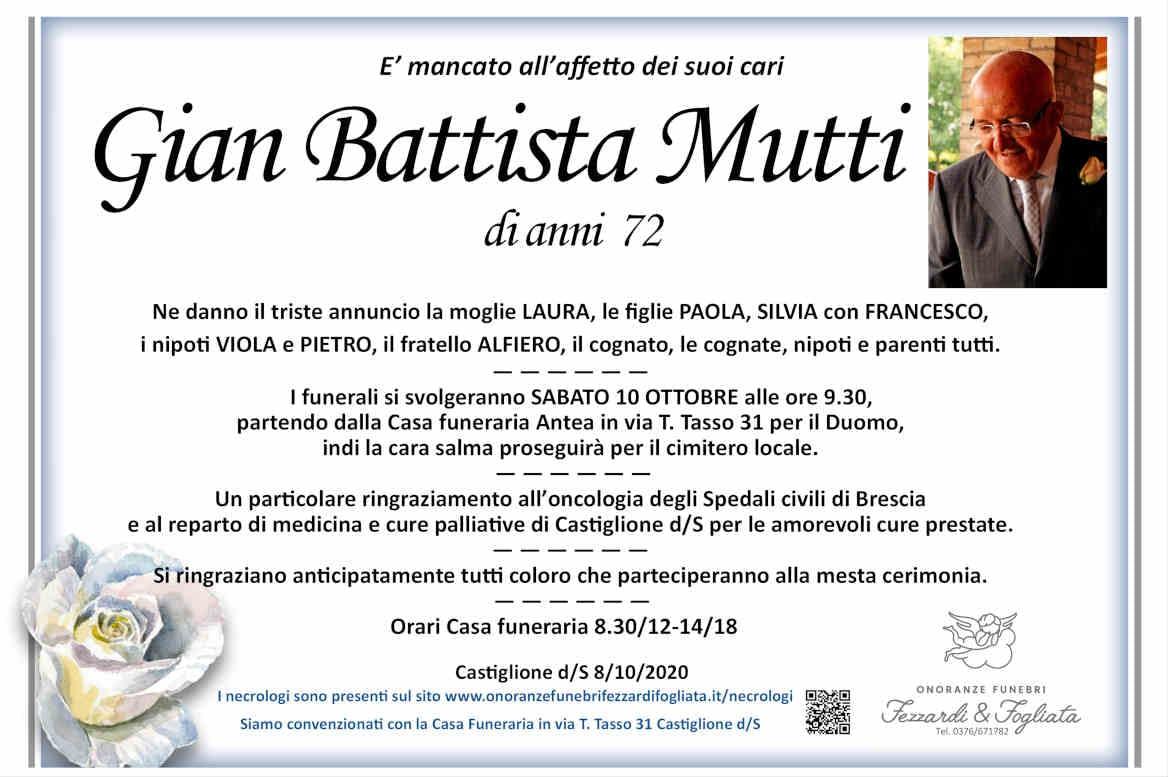 Necrologio Gian Battista Mutti