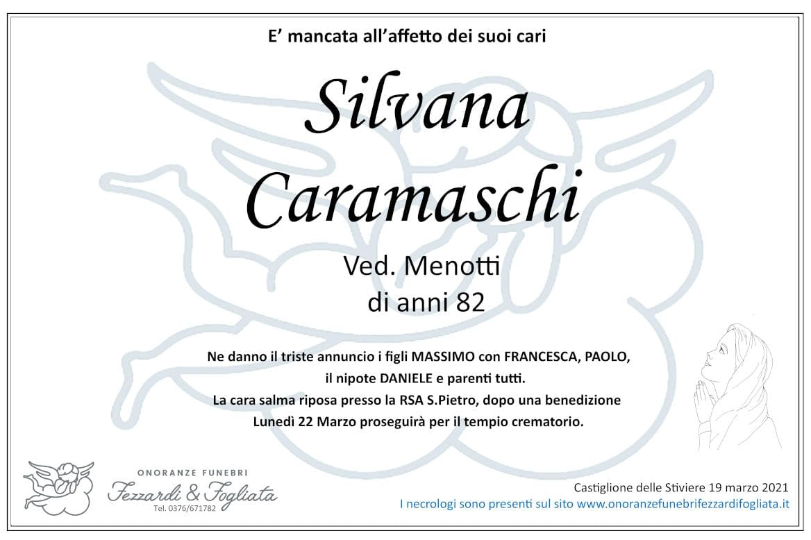 Necrologio Silvana Caramaschi