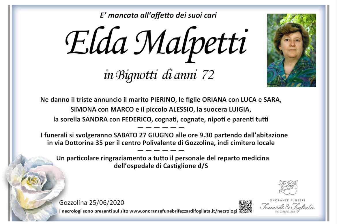 Necrologio Elda Malpetti