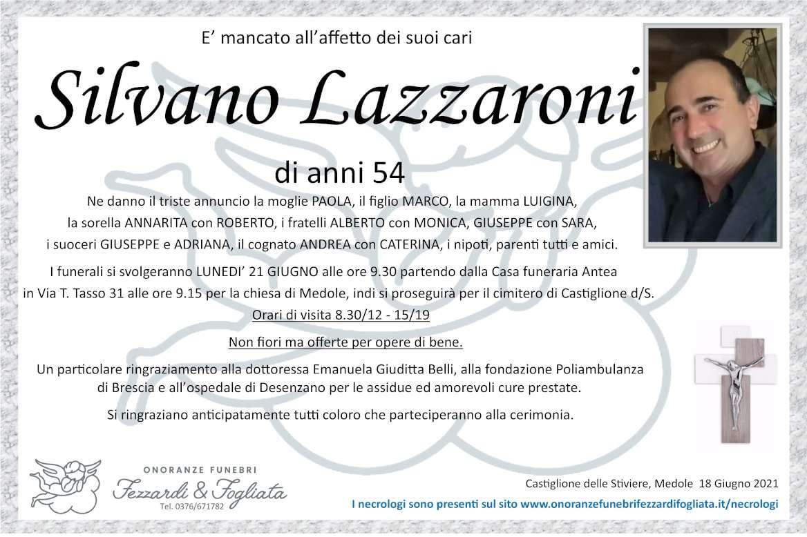 Necrologio Silvano Lazzaroni