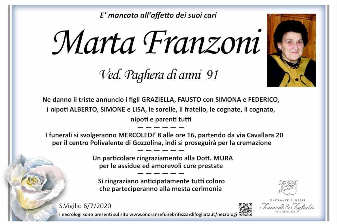 Necrologio Marta Franzoni