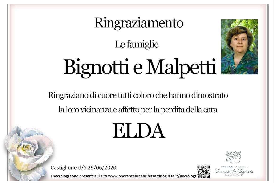 Necrologio Elda Malpetti (Ringraziamento)