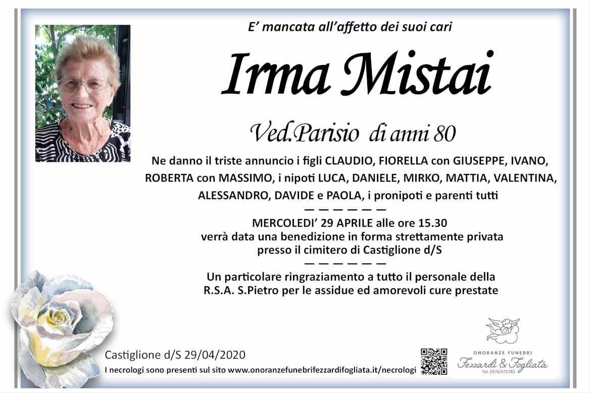 Necrologio Irma Mistai