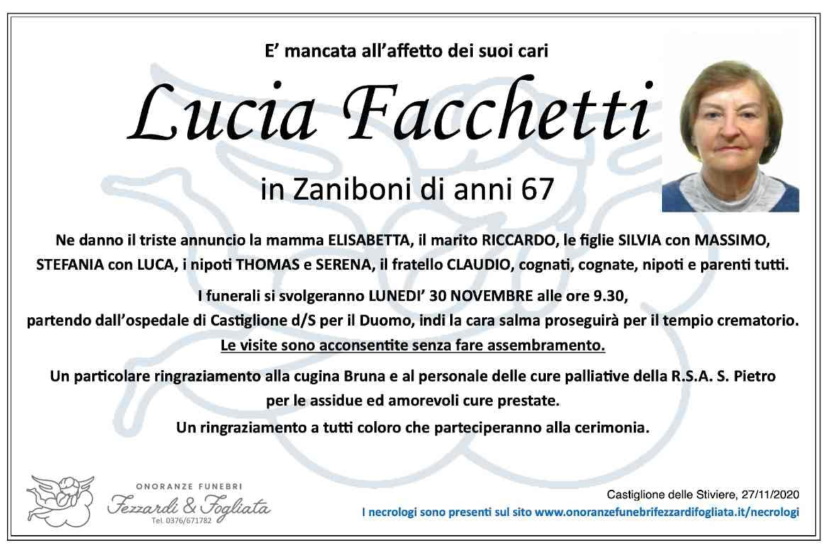 Necrologio Lucia Facchetti