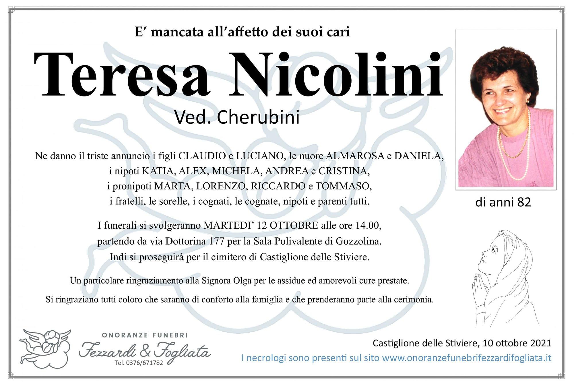 Necrologio Teresa Nicolini ved.Cherubini
