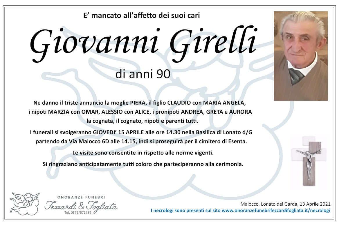 Necrologio Giovanni Girelli