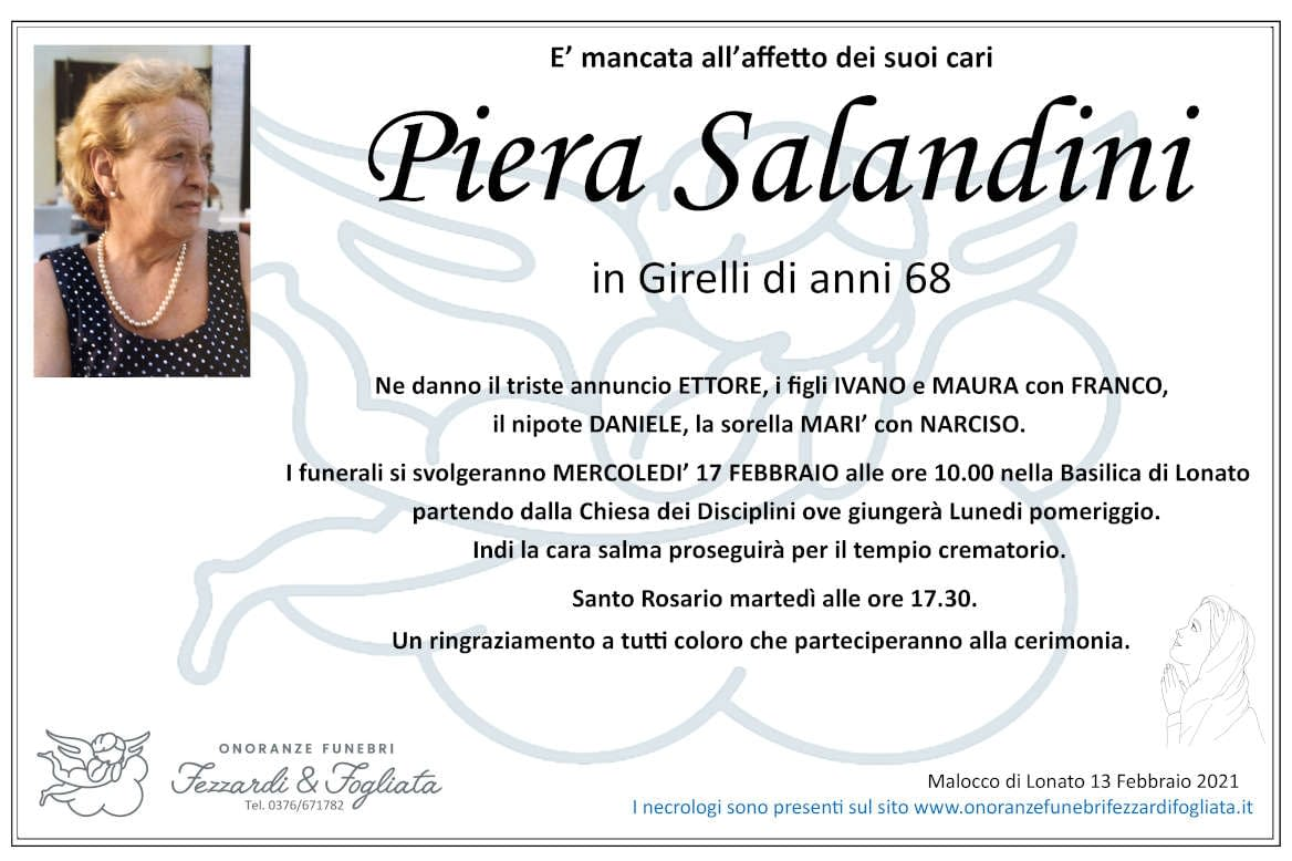 Necrologio Piera Salandini