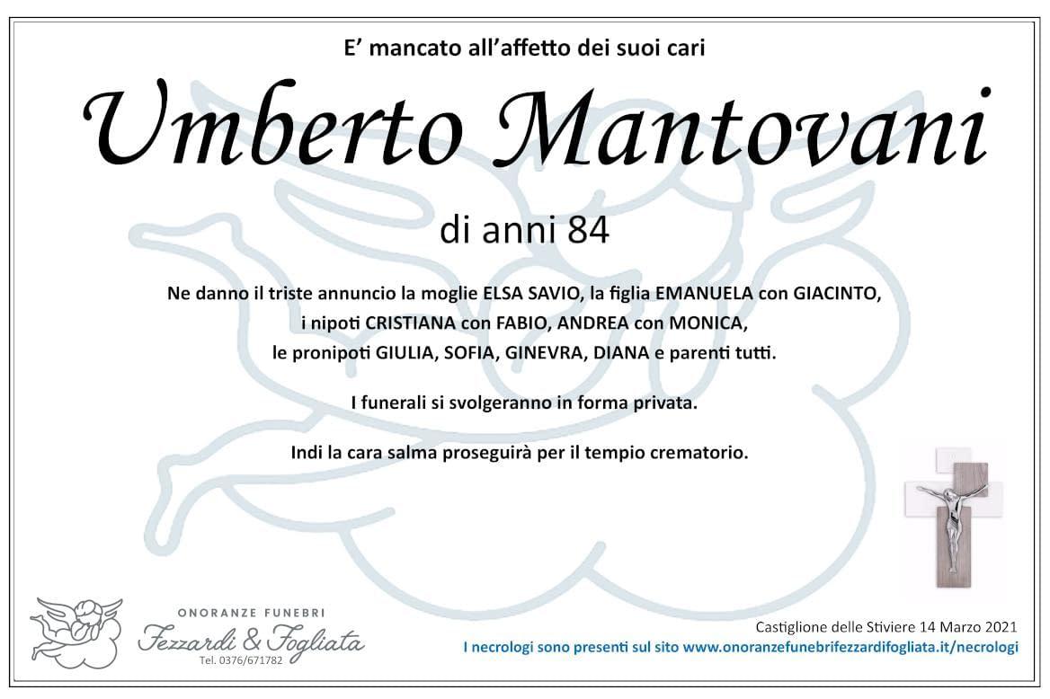 Necrologio Umberto Mantovani