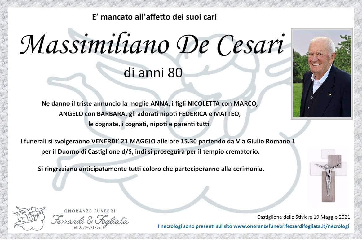 Necrologio Massimiliano De Cesari