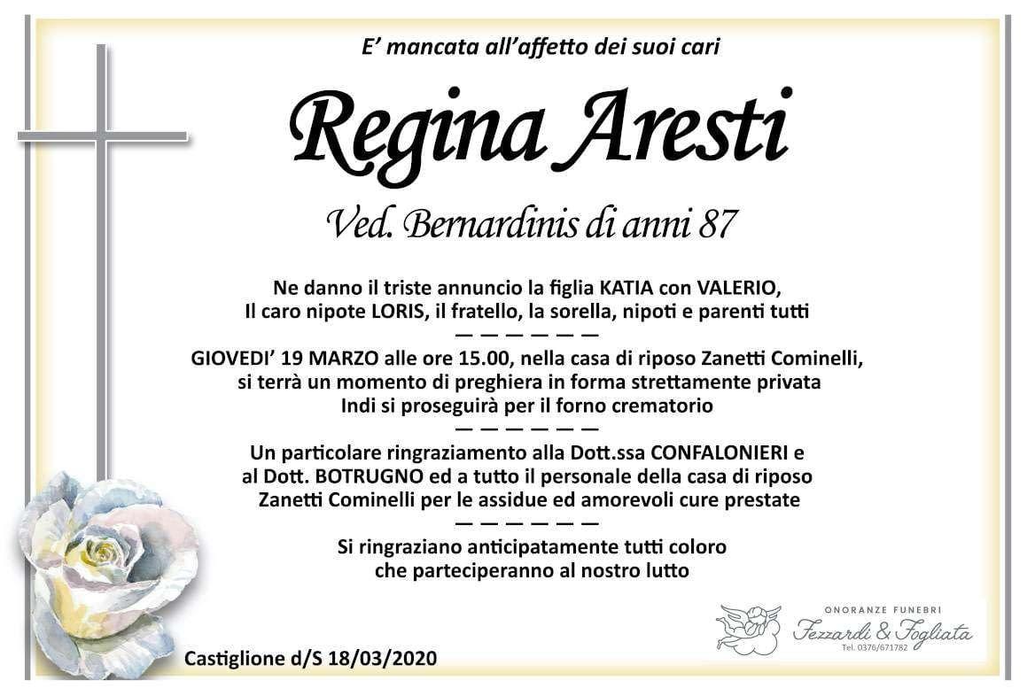 Necrologio Regina Aresti