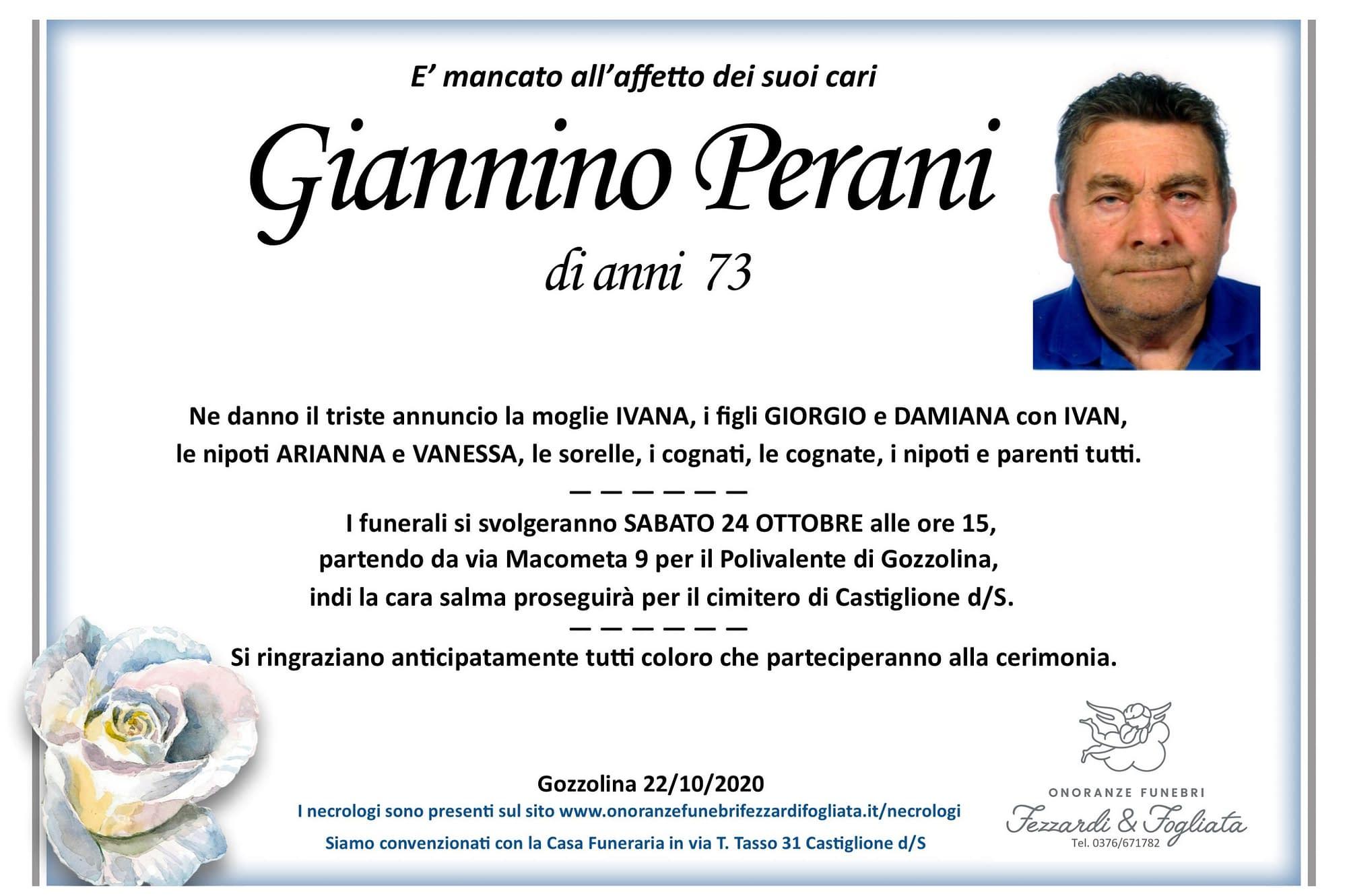 Necrologio Giannino Perani