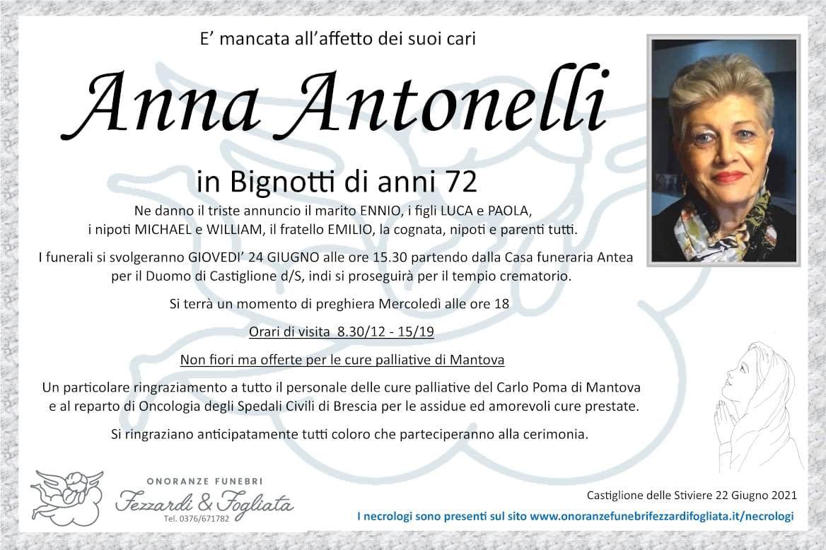 Necrologio Anna Antonelli