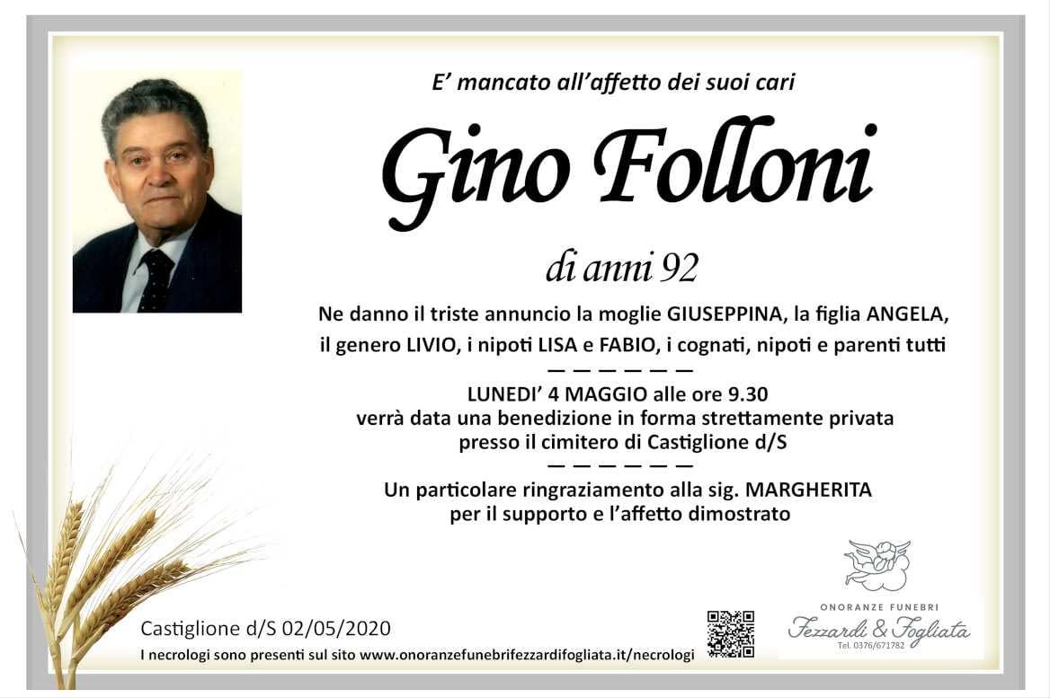 Necrologio Gino Folloni
