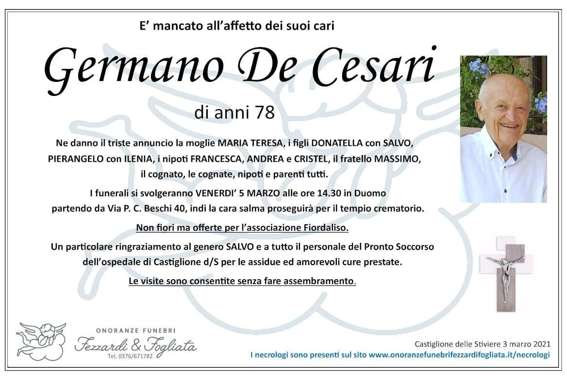 Necrologio Germano De Cesari