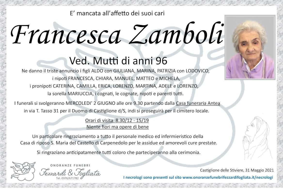 Necrologio Francesca Zamboli