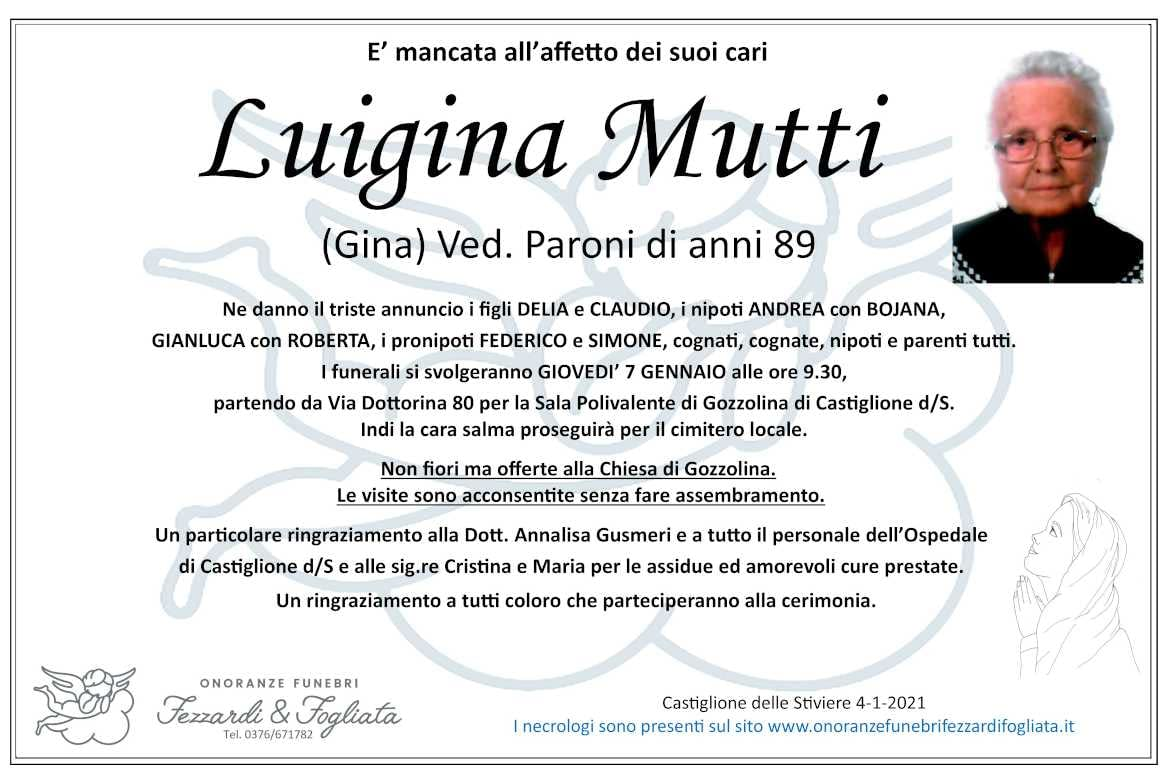 Necrologio Luigina Mutti (Gina)