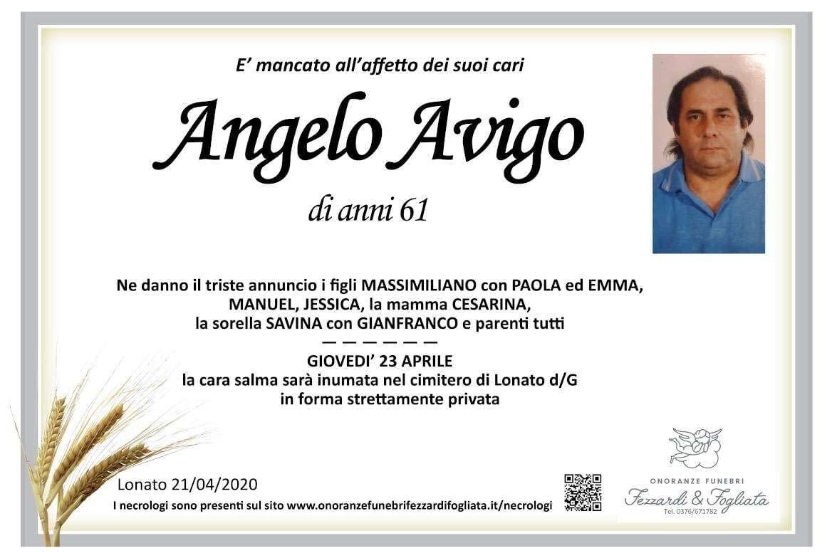 Necrologio Angelo Avigo