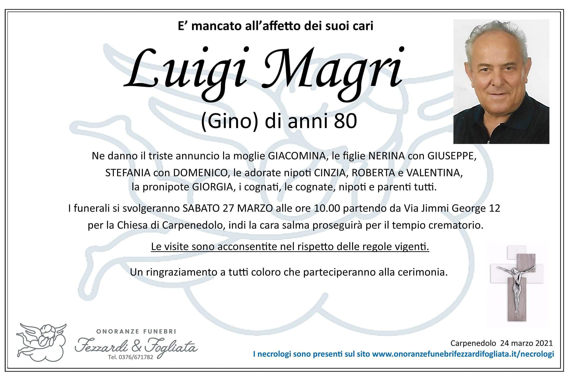 Necrologio Luigi Magri